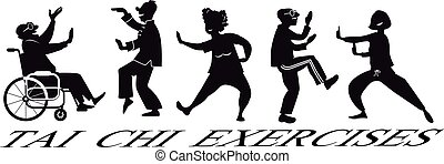 Tai Chi Silhouette - EPS 8 vector silhouette of a group of...