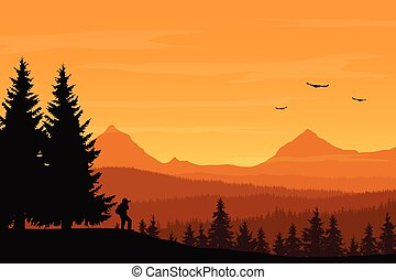 Vector illustration of mountain landscape with forest and photographer under orange sky with clouds
