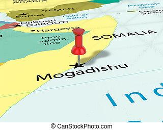 Pushpin on Mogadishu map background. 3d illustration.