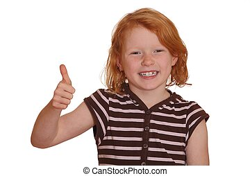 Redhaired girl shows thumbs up