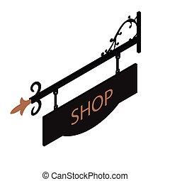 Shop sign vector - Vector illustration vintage, old sign....