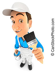 3d painter holding paint brush, illustration with isolated...