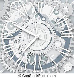 Vector clock with Roman numerals.  Clockwork mechanism.