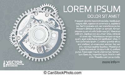 Abstract  clockwork mechanism. White gears with centre on the gray background