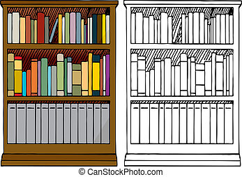A Full Bookshelf - Various kinds of blank books placed in a...