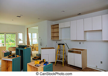 Interior design construction of a kitchen with cooker...