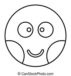 Embarrassed face icon in outline style vector illustration...