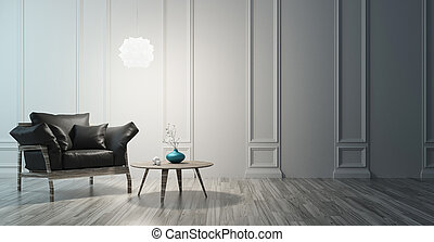 Minimal living room with sof and white wall, 3d render illustration