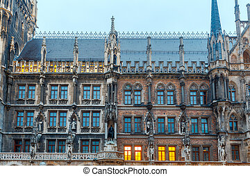 Munich. New Town Hall. - Building's facade New Town Hall....