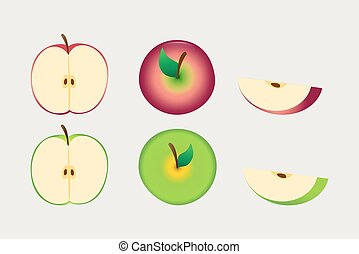 Red and green apple whole and sliced