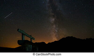bench on the background of the Milky Way, time lapse