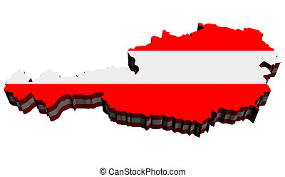 Map of Austria against white background. Close up.
