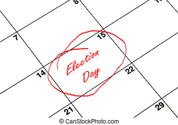 Election Day Circled on A Calendar in Red