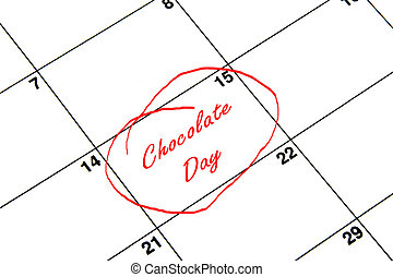Chocolate Day Circled on A Calendar in Red