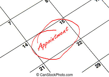 Appointment Circled on A Calendar in Red