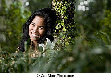 Beautiful young woman enjoying nature - Face of beautiful...