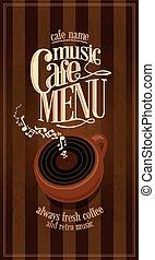 Retro music long cafe menu