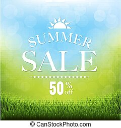 Summer Sale Poster With Grass Border