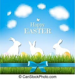 Happy Easter Card, With Gradient Mesh, Vector Illustration