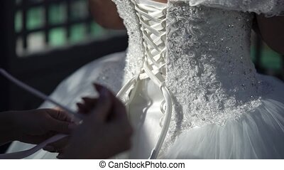 Wearing wedding dress - Wearing white wedding dress with...