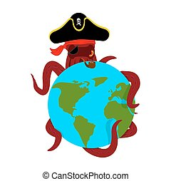 Octopus pirate and earth. poulpe buccaneer and planet. Eye...