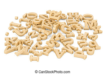 Pile of wooden letters, 3D rendering