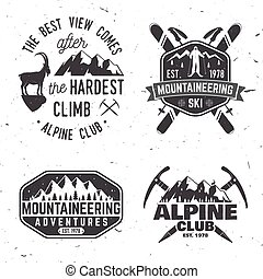 Vintage typography design with mountaineers and mountain...