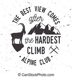 Vintage typography design with ice axe, rock climbing Goat...