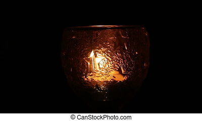 candle light with glass - close up candle light with glass