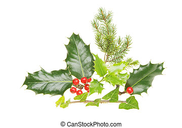 Christmas themed foliage,holly,ivy and pine tree leaves