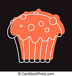 Cupcake icon in doodle style vector illustration for design and web isolated