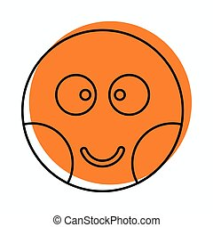Embarrassed face icon in doodle style vector illustration...