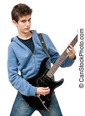 Teenager playing electric guitar on white background