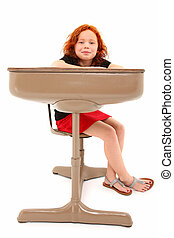 Child Student Desk Smiling
