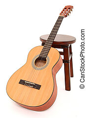 Child Acoustic Guitar - Child size acoustic guitar leaning...