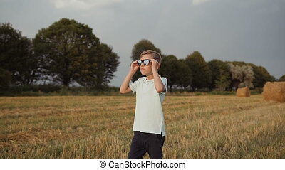 A child in the field. A boy in his glasses looks at the...