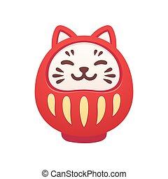 Cute cat Daruma doll