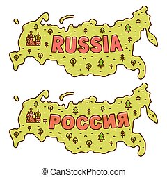Cartoon map of Russia - Cute cartoon map of Russia with...