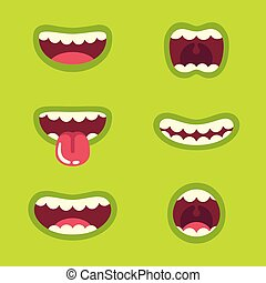 Monster mouth set - Funny green monster mouth set with...