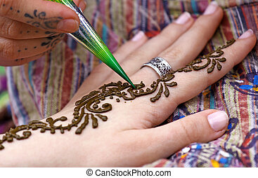 Body decoration - Picture of human hand being decorated with...