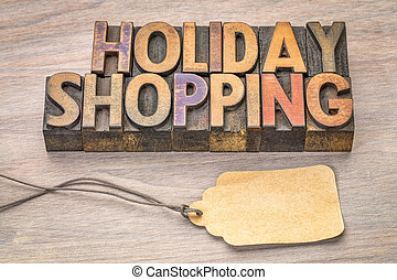 holiday shopping word abstract in vintage letterpress wood...