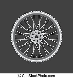 Black metallic bicycle wheel on a black background
