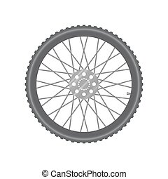 Black metallic bicycle wheel on a white background