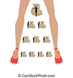 financial pyramid concept. illustrating career