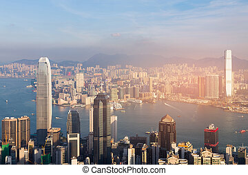 Hong Kong city downtown aerial view over Victorial sea