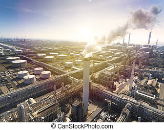 Aerial view Oil refinery with sunlight background