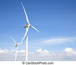 wind turbines with cloud background