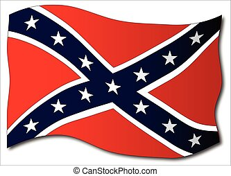Waving Confederate Flag Isolated - The flag of the...