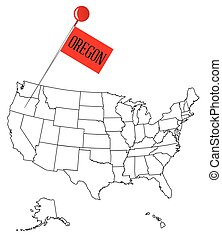 Knob Pin Oregon - An outline map of USA with a knob pin in...
