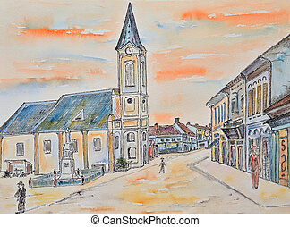 sketch, old town - watercolor sketch of an old town